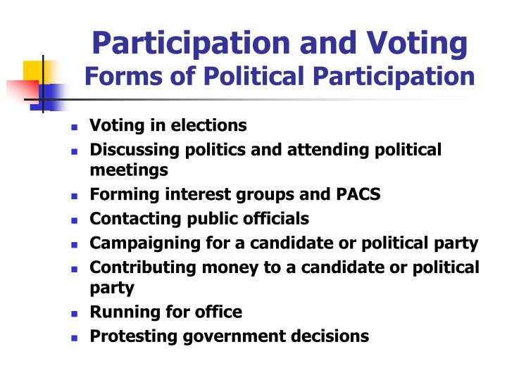Participation and voting forms of political participation