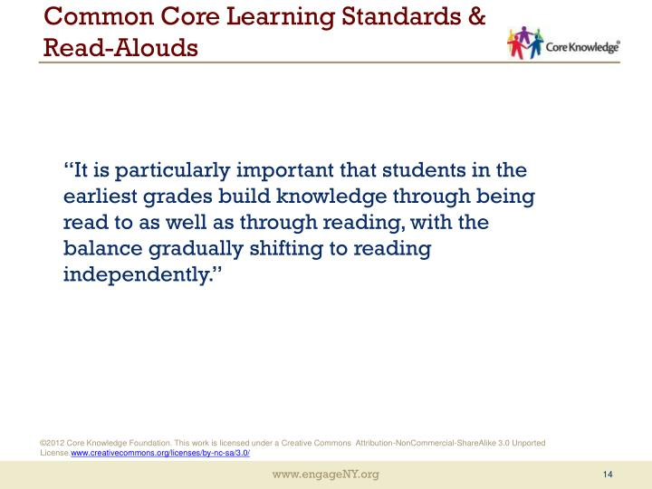 Common Core Learning Standards & Read-Alouds