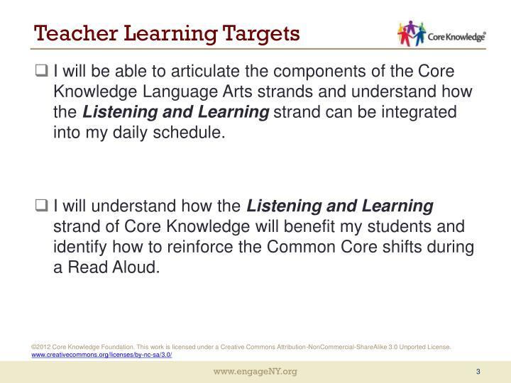 Teacher Learning Targets