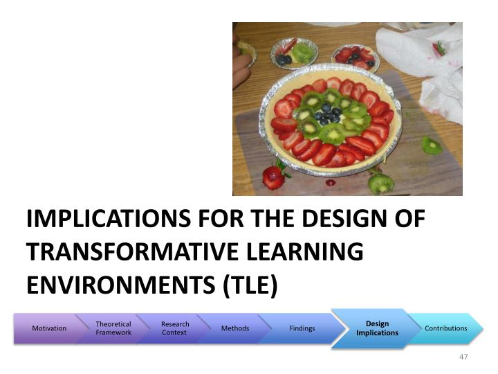 Implications for the Design of Transformative Learning Environments (TLE)