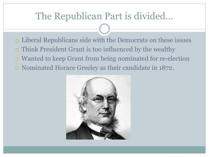 The Republican Part is divided…