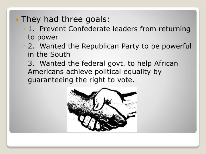 They had three goals: