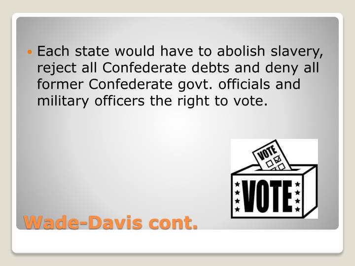 Each state would have to abolish slavery, reject all Confederate debts and deny all former Confederate govt. officials and military officers the right to vote.