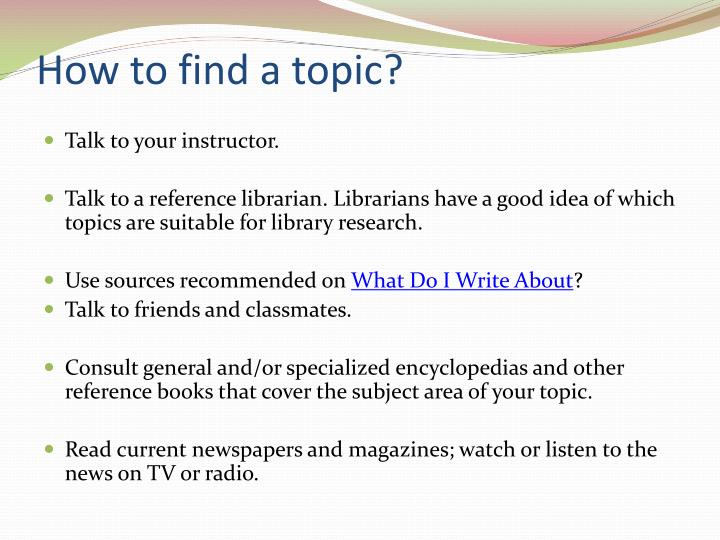 How to find a topic?