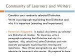 community of learners and writers