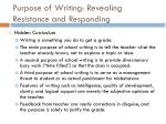 purpose of writing revealing resistance and responding