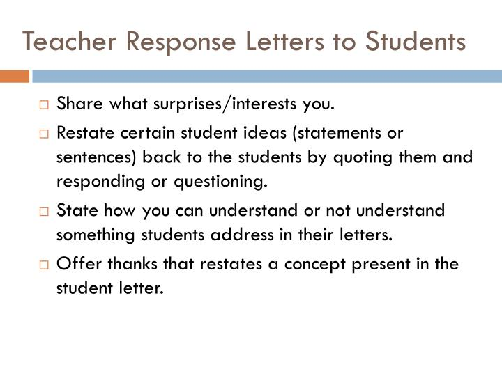 Teacher Response Letters to Students