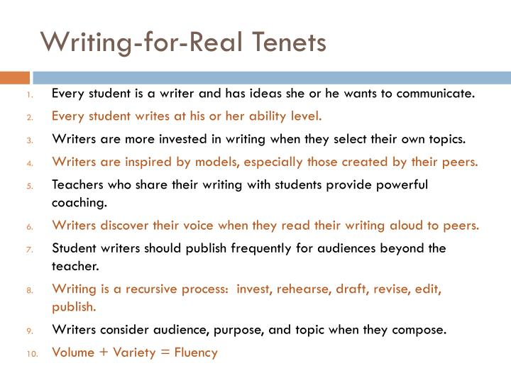 Writing-for-Real Tenets