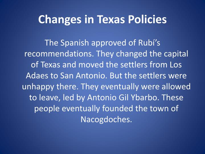Changes in Texas Policies