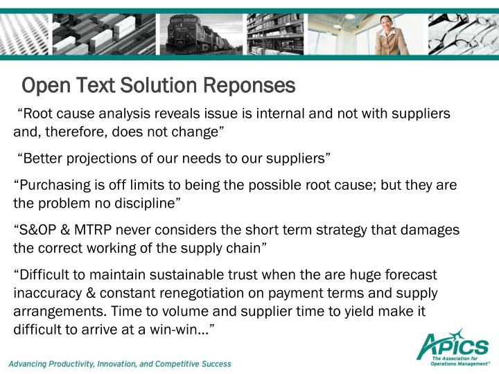 Open Text Solution Reponses