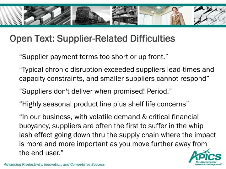 Open Text: Supplier-Related Difficulties