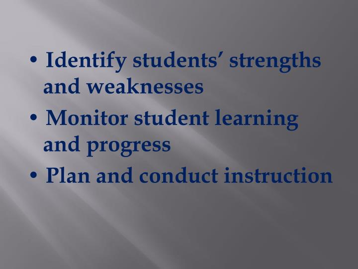 • Identify students' strengths and weaknesses
