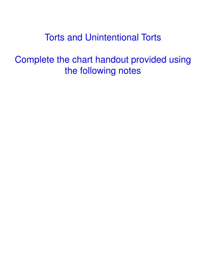 Torts and Unintentional Torts