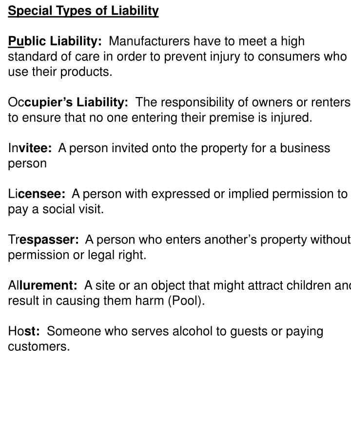 Special Types of Liability