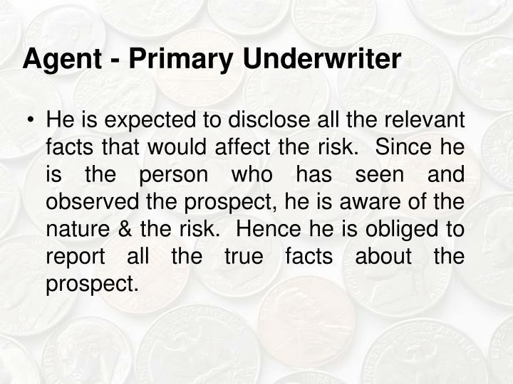 Agent - Primary Underwriter