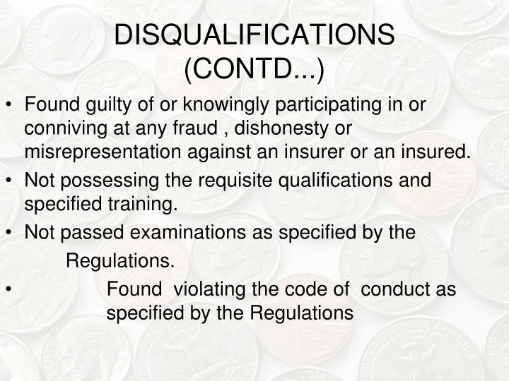 DISQUALIFICATIONS (CONTD...)