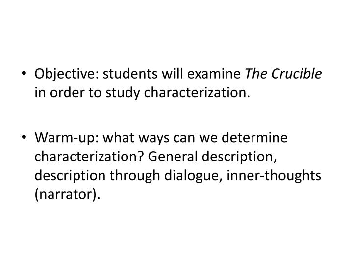Objective: students will examine