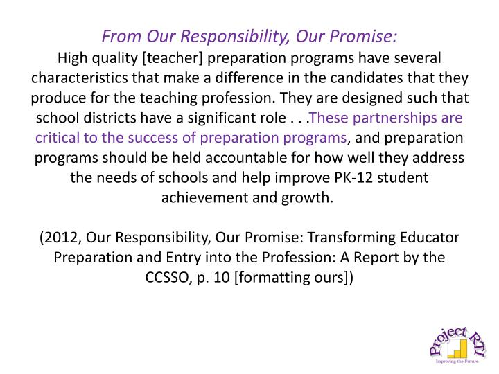 From Our Responsibility, Our Promise: