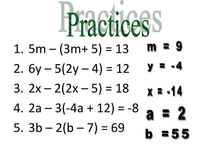 5m – (3m+ 5) = 13