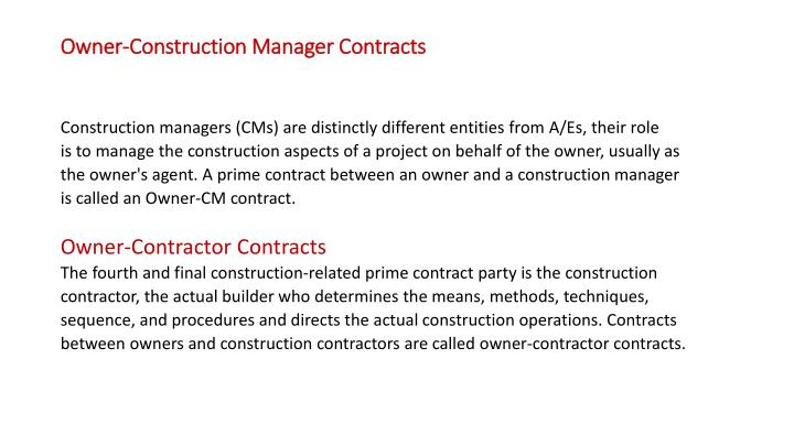 Owner construction manager contracts