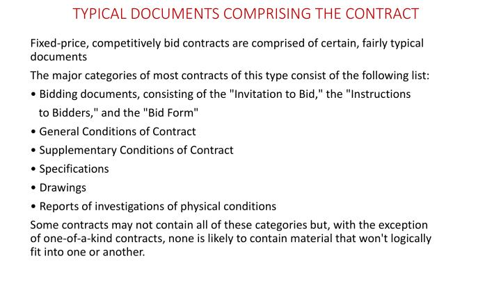 TYPICAL DOCUMENTS COMPRISING THE CONTRACT
