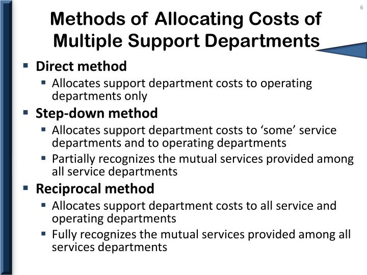 Methods of Allocating Costs of Multiple Support Departments