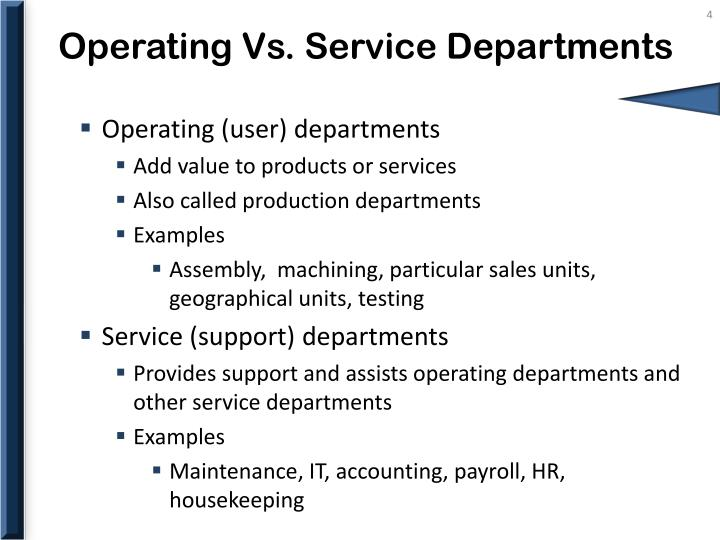 Operating Vs. Service Departments