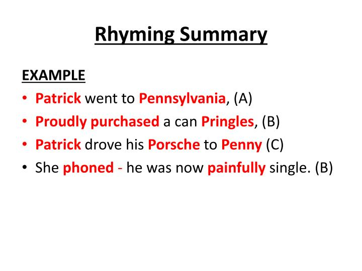 Rhyming Summary