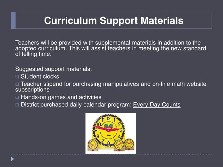 Curriculum support materials