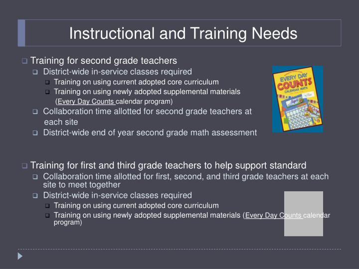 Instructional and Training Needs