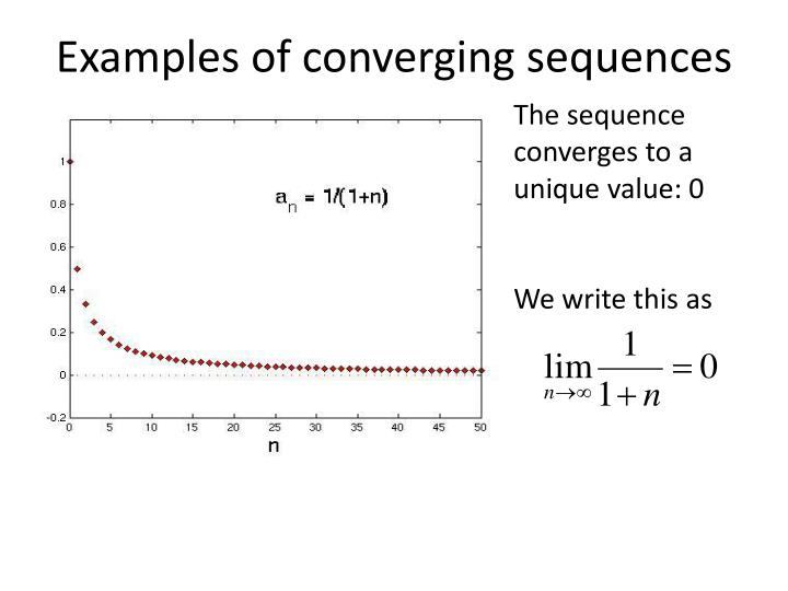 Examples of converging sequences