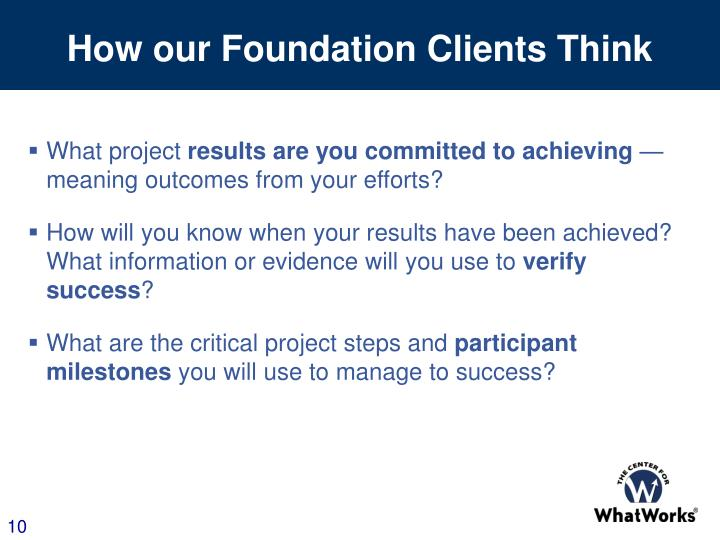 How our Foundation Clients Think