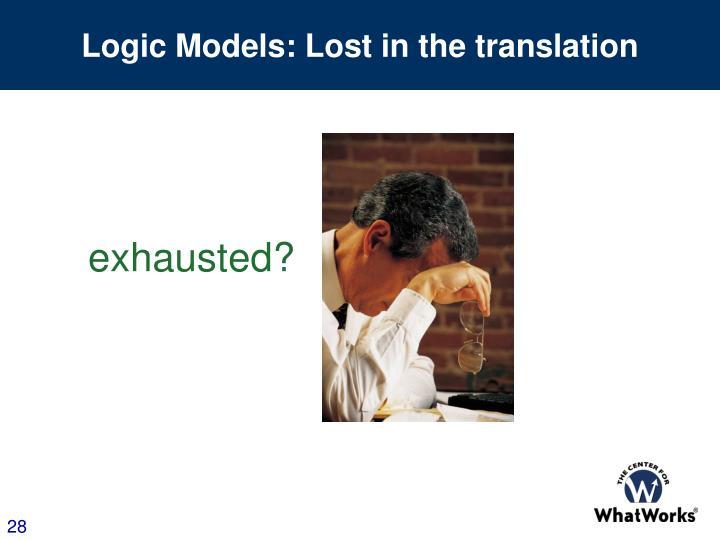 Logic Models: Lost in the translation