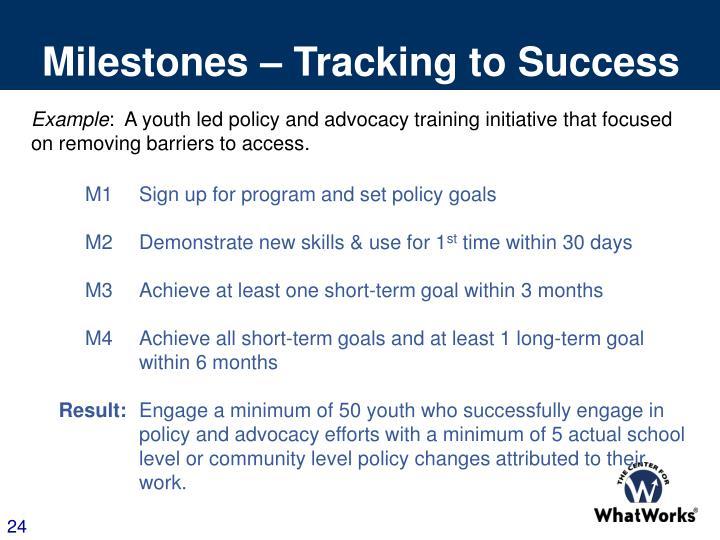 Milestones – Tracking to Success