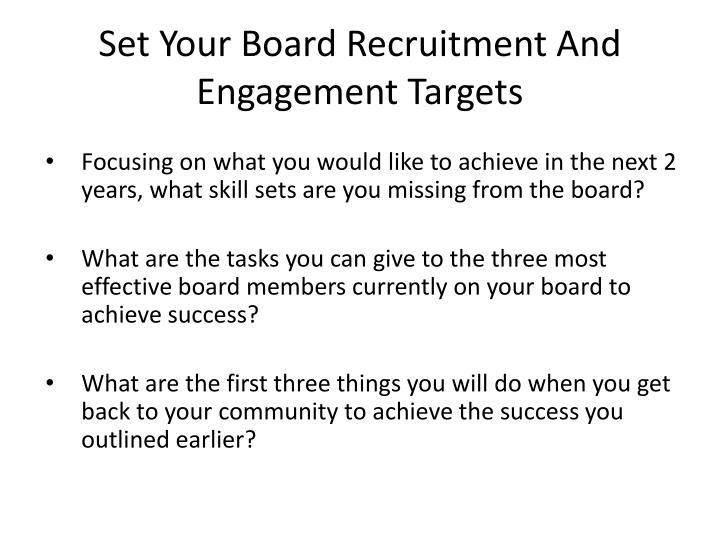 Set Your Board Recruitment And Engagement Targets