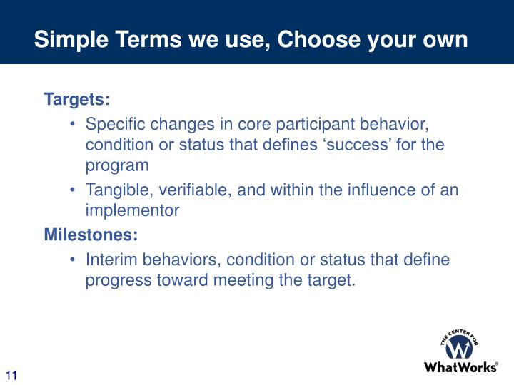 Simple Terms we use, Choose your own