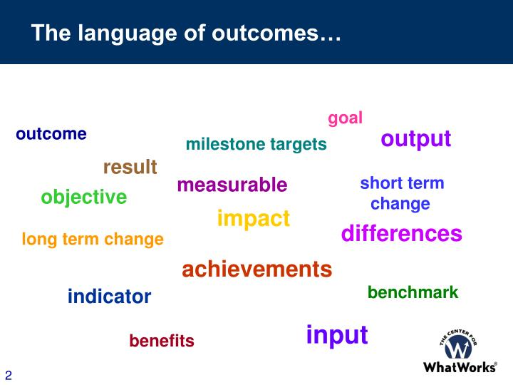 The language of outcomes…
