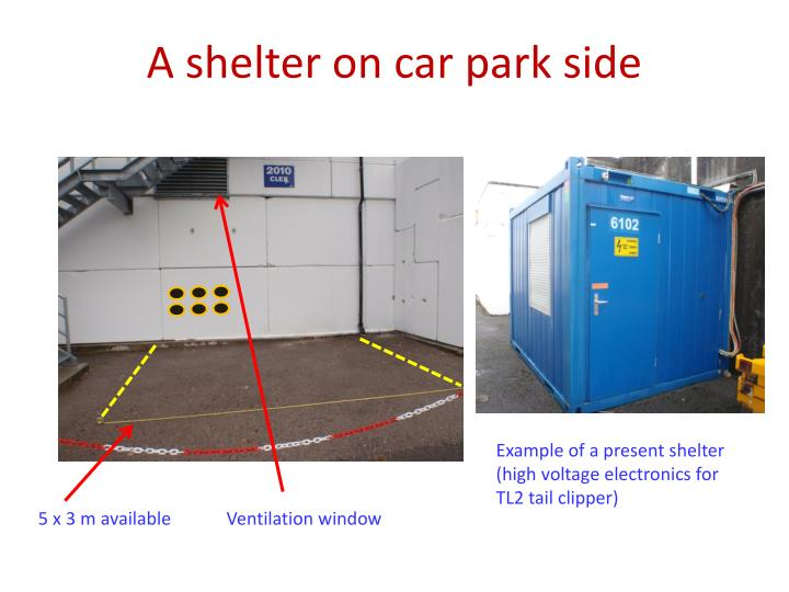 A shelter on car park side