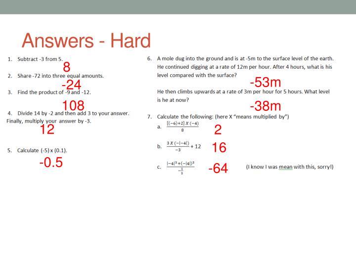 Answers - Hard
