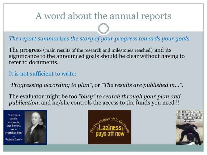 A word about the annual reports