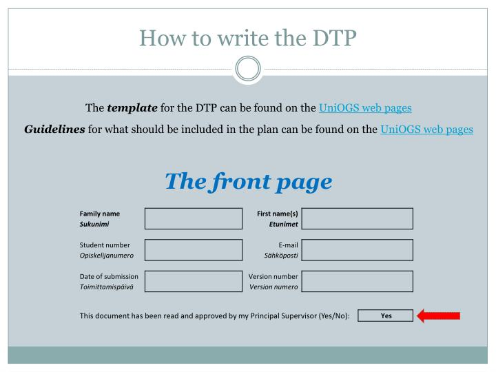 How to write the DTP