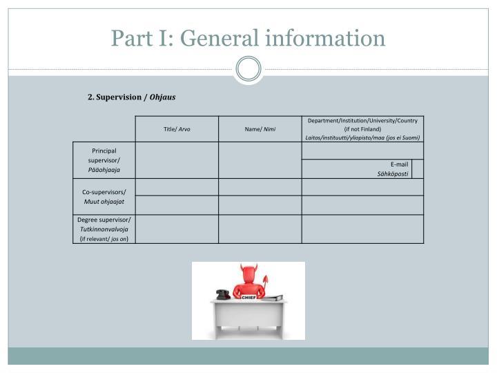 Part I: General information