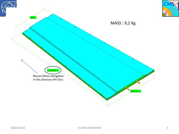 MASS : 9,2 Kg