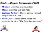 results missouri compromise of 1820