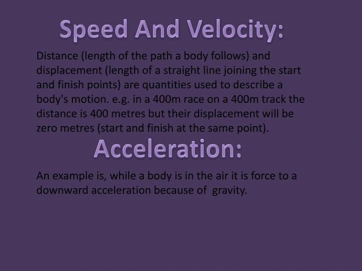 Speed And Velocity: