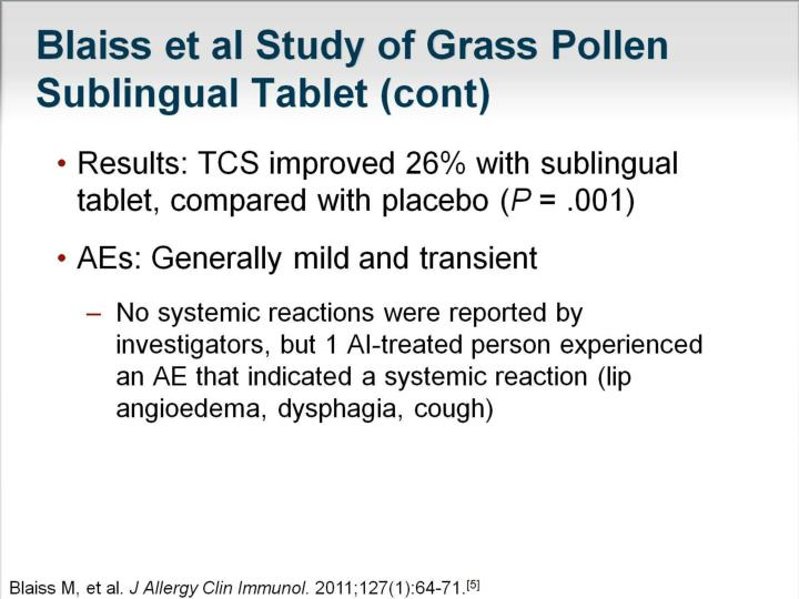 Blaiss et al Study of Grass Pollen Sublingual Tablet (cont)