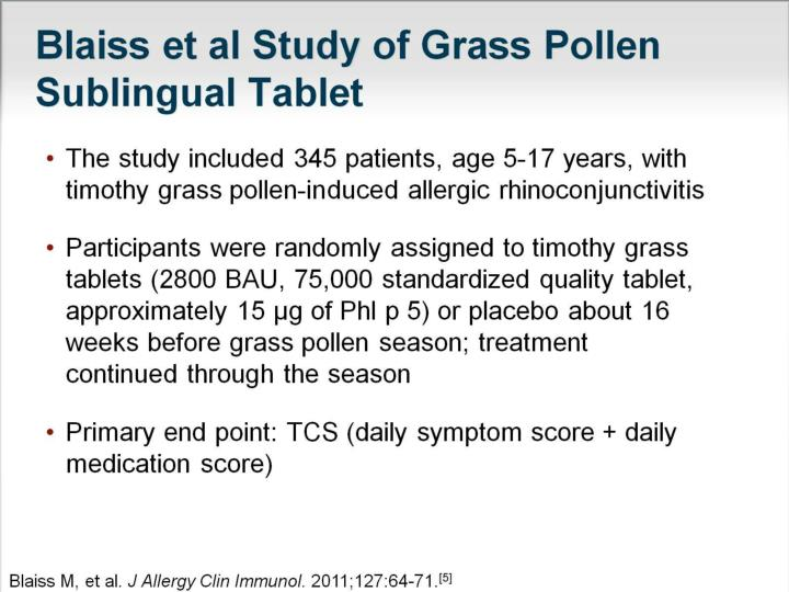 Blaiss et al Study of Grass Pollen Sublingual Tablet