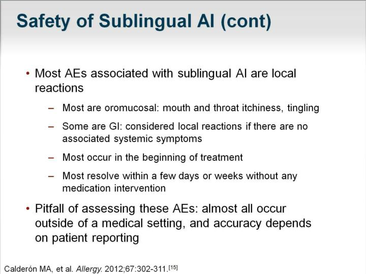 Safety of Sublingual AI (cont)