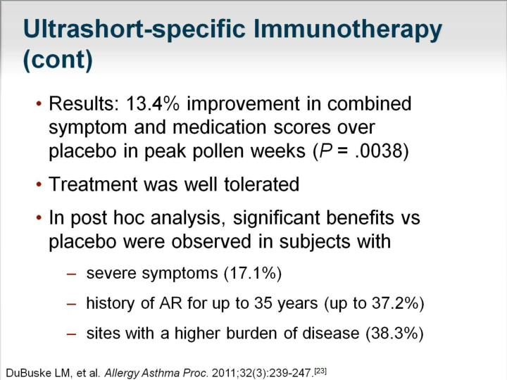 Ultrashort-specific Immunotherapy (cont)