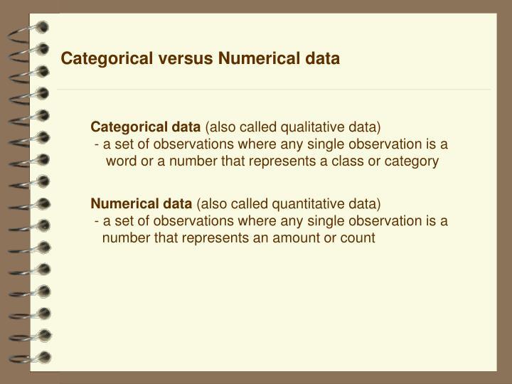 Categorical versus Numerical data